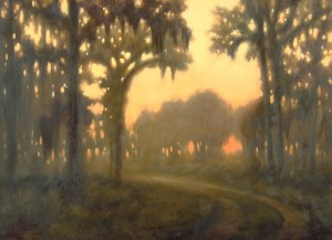 """""""Road in the Woods"""" by Jim Jones, in The Cloister."""