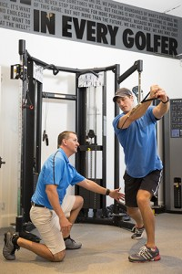 Scott Fedisin (left) offers training expertise at the Sea Island Golf Performance Center.