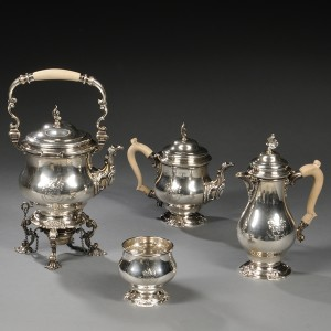 A George V four-piece sterling silver tea and coffee service set auctioned by Skinner | Courtesy of Skinner Inc./www.skinner.com